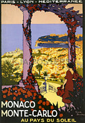 French Coast Framed Prints - Monaco - Monte Carlo Framed Print by Nomad Art And  Design