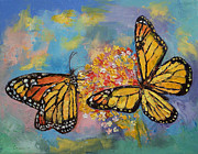 Monarch Butterfly Paintings - Monarch Butterflies by Michael Creese