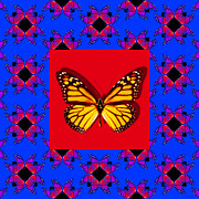 Royalty Digital Art Posters - Monarch Butterfly Abstract Window 20130203m133 Poster by Wingsdomain Art and Photography