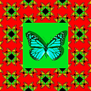 Royalty Digital Art Posters - Monarch Butterfly Abstract Window 20130203p0 Poster by Wingsdomain Art and Photography