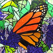Mosaic Mixed Media - Monarch Butterfly by Catherine Van Der Woerd