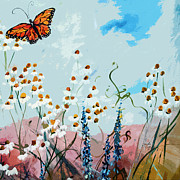 Country Cottage Prints - Monarch Butterfly Modern Art Print by Ginette Callaway