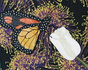 Art Quilts Tapestries Textiles Prints - Monarch Butterfly on White Tulip Print by Lynda K Boardman