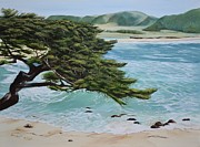 Rogers Beach Prints - Monastery Beach Print by Mary Rogers