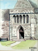 Historic Site Paintings - Monastery door at Iona by Ken Maddex