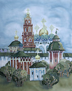 Orthodox Painting Framed Prints - monastery of Sergiev Posad-1 Framed Print by Khromykh Natalia