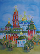 Moscow Paintings - monastery of Sergiev Posad by Khromykh Natalia
