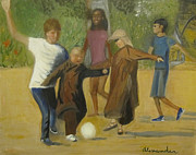 Buddhist Monk Paintings - Monastic Soccer by Jamie AT Alexander