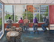 Montreal Cafes Framed Prints - Mondays at Tim Hortons Framed Print by Reb Frost
