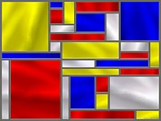 Mondrian Digital Art Posters - Mondrian Influenced Stained Glass panel No10 Poster by Michael C Geraghty