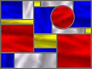 Stainless Steel Prints - Mondrian Influenced Stained Glass Panel No3 Print by Michael C Geraghty
