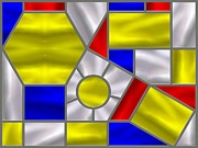 Stainless Steel Prints - Mondrian Influenced Stained Glass panel No4 Print by Michael C Geraghty