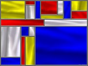 Stainless Steel Prints - Mondrian Influenced Stained Glass panel No5 Print by Michael C Geraghty