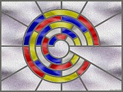 Stainless Steel Prints - Mondrian Influenced Stained Glass panel No6 Print by Michael C Geraghty