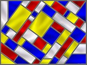 Mondrian Digital Art Posters - Mondrian Influenced Stained Glass panel No8 Poster by Michael C Geraghty