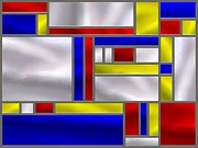Stainless Steel Prints - Mondrian Influenced Stained Glass panel No9 Print by Michael C Geraghty