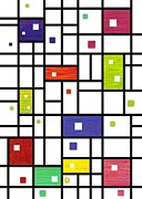 Mondrian Digital Art Posters - Mondrian-Like Poster by David K Small