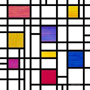 Mondrian Digital Art Posters - Mondrianish Poster by David K Small