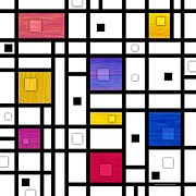 Mondrian Digital Art Posters - Mondrianish Variation Poster by David K Small