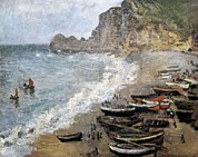 La Porte Framed Prints - Monet, Claude 1840-1926. Etretat, Beach Framed Print by Everett