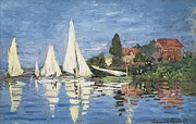 Exterior Pictures Posters - Monet, Claude 1840-1926. Regatta Poster by Everett