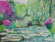 Marcello Martinho Painting Posters - Monet Garden Poster by Marcello Martinho