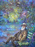 Monet Pastels Prints - Monet in hs garden Print by Heather Harman