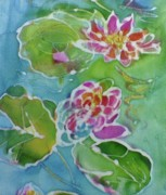 Lilies Tapestries - Textiles - Monet Water Lilies in detail by Shan Ungar