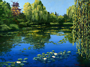 White Water Lilies Posters - Monet Water Lily Garden II Poster by Elaine Farmer