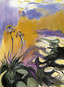 Gold Leave Paintings - Monets Agapanthus by Jamie Frier