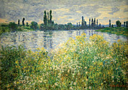 Vetheuil Framed Prints - Monets Banks Of The Seine At Vetheuil Framed Print by Cora Wandel