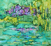 Alcohol Ink Prints - Monets Bridge Print by Carolyn Opderbeck