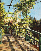 Popular Paintings - Monets Bridge Giverny by  David Lloyd Glover