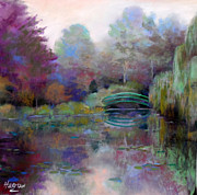 Evening Light Pastels Prints - Monets bridge Print by Heather Harman