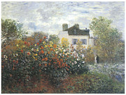 Garden House Framed Prints - Monets Garden at Argenteuil Framed Print by Claude Monet