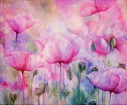 Bouquet Mixed Media Posters - Monets Poppies Vintage Cool Poster by Zeana Romanovna