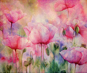 Color Green Mixed Media Posters - Monets Poppies Vintage Warmth Poster by Zeana Romanovna
