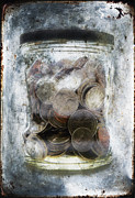 Gloomy Posters - Money Frozen In A Jar Poster by Skip Nall