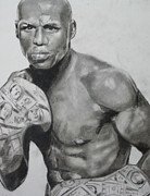 Boxer  Pastels Prints - Money Mayweather Print by Aaron Balderas