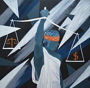 Justice Paintings - Money x Justice by Thomas Attermann
