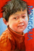 Janet Mcgrath Metal Prints - Mongolian Child Metal Print by Janet McGrath