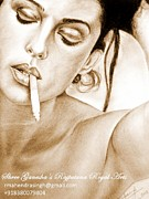 Monica Drawings Framed Prints - Monica Bellucci Framed Print by Mahendrasingh Rajput