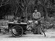 Blackandwhite Photo Posters - Monk and Food Cart Poster by Robert Knight