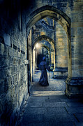 Walk Alone Framed Prints - Monk in a Dark Corridor Framed Print by Jill Battaglia