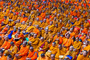 Alms Prints - Monk Mass Alms Giving in Bangkok Print by Fototrav Print