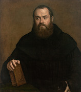 Religious Art Painting Prints - Monk with a Book Print by Titian