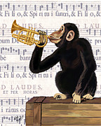 Monkey And Trumpet Print by Kelly McLaughlan