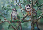 Squirrel Painting Prints - Monkey Bars Print by Laura Regan