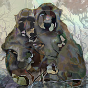 Hugging Digital Art - Monkey Love by Ursula Freer