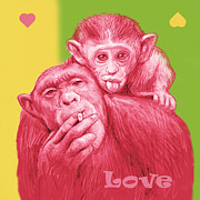 Stylized Mixed Media Posters - Monkey love with mum - stylised drawing art poster Poster by Kim Wang